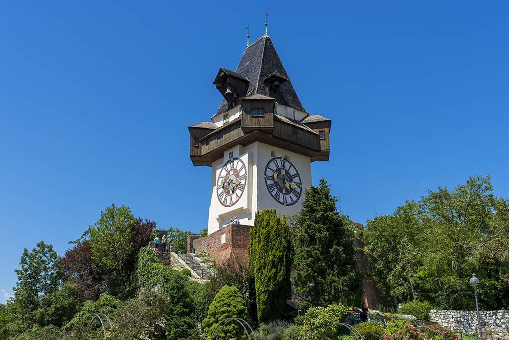 Tempo torre dell'orologio a Graz, in Austria